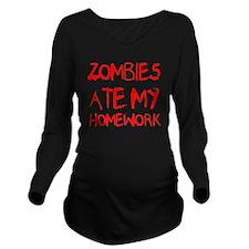 Zombies Ate My Homew Long Sleeve Maternity T-Shirt