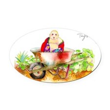Transporting Buddha Oval Car Magnet