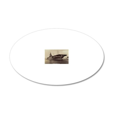 uss lake champlain cv rectan 20x12 Oval Wall Decal