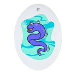 Eel Cartoon Oval Ornament