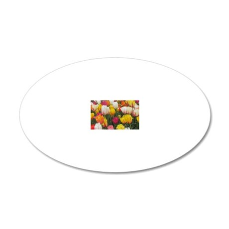 Spring Tulip Field 20x12 Oval Wall Decal
