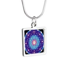 Tetra Mandala Silver Square Necklace