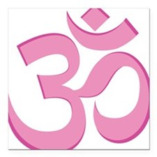 "Om, Pink Square Car Magnet 3"" x 3"""