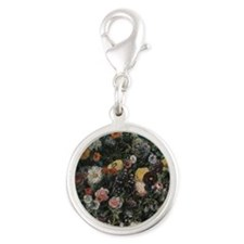 Delacroix Bouquet of Flowers Silver Round Charm