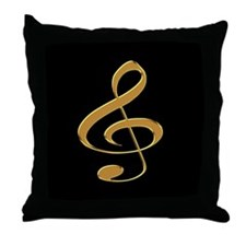 Gold Treble Clef Throw Pillow