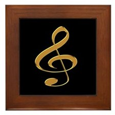 Gold Treble Clef Framed Tile