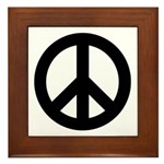 Black Peace Sign Framed Tile