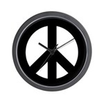 Black Peace Sign Wall Clock