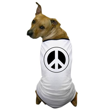 White on Black Peace Sign Dog T-Shirt
