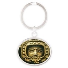 Mayan Sky God Ancient Alien Theorist Oval Keychain