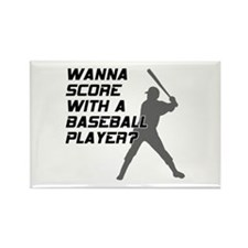 Score With A Baseball Player Rectangle Magnet