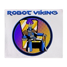 Robot Viking Throne Logo Throw Blanket