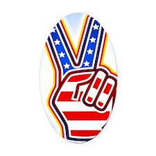 Hand showing v-sign Oval Car Magnet