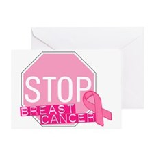 STOP Breast Cancer Pink Ribbon Sign Greeting Card