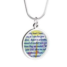 Nurse prayer blanket BLUE Silver Round Necklace