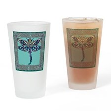 Celtic Dragonfly Square Drinking Glass