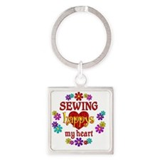 Sewing Happy Square Keychain
