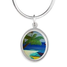Boat Docked at the beach Silver Oval Necklace
