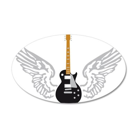 e-guitar player wings 35x21 Oval Wall Decal