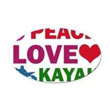 Peace Love Kayak Oval Car Magnet