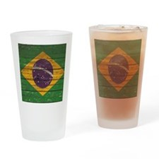 Wooden Wall Brazilian flag Drinking Glass