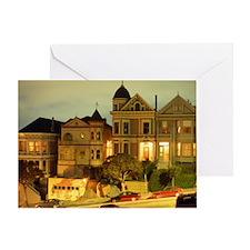 STEINER STREET AT NIGHT IN SAN FRANC Greeting Card