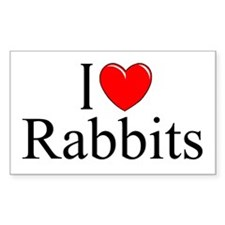 """I Love (Heart) Rabbits"" Rectangle Decal"