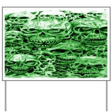 skulls 9  dark  ink  green shade larger  Yard Sign
