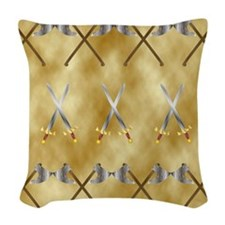 Ax and sowrds Woven Throw Pillow