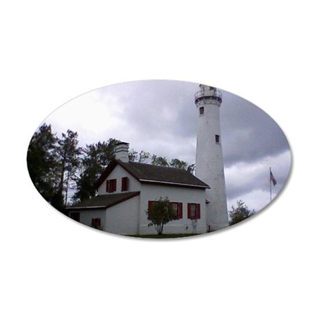 Michigan Northern Lighthouse 35x21 Oval Wall Decal