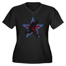 hockey playe Women's Plus Size Dark V-Neck T-Shirt