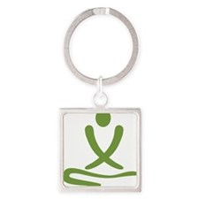 Green massage design Square Keychain