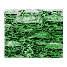 skull 30 dark green shade large wide Throw Blanket