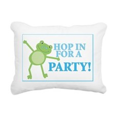 Frog Party Sign Blue Tex Rectangular Canvas Pillow