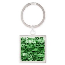 skull 24 dark green shade large Square Keychain