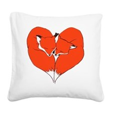 Foxes Mate for Life Square Canvas Pillow