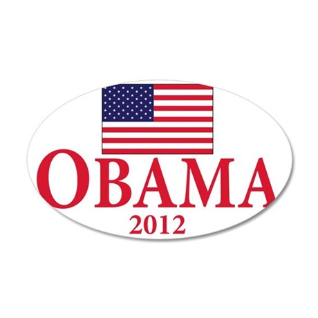 OBAMA 2012(BLK) 35x21 Oval Wall Decal