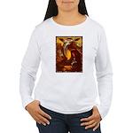 Mona Lisa Deer #1A Women's Long Sleeve T-Shirt