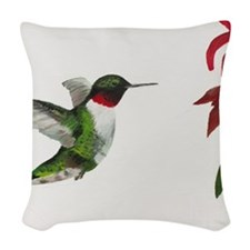 Hummingbird and Bee Balm Woven Throw Pillow