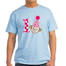 Pink Monkey 1st Birthday T-Shirt