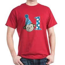 1st Birthday Cute Boy Monkey Blue T-Shirt