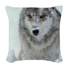 GREY WOLF WITH SNOW COVERED FA Woven Throw Pillow