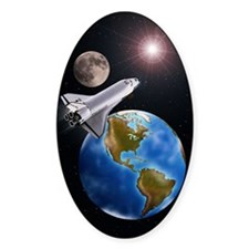 SPACE SHUTTLE, MOON, EARTH WITH WES Decal