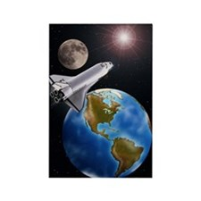 SPACE SHUTTLE, MOON, EARTH WITH W Rectangle Magnet