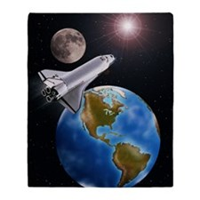 SPACE SHUTTLE, MOON, EARTH WITH WEST Throw Blanket
