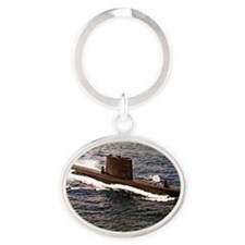 uss sailfish rectangle magnet Oval Keychain