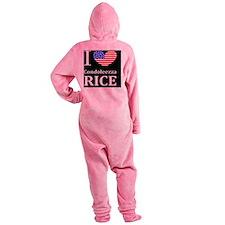 RICE I LOVEDBUTTONL Footed Pajamas