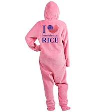 RICE I LOVEDBUTTONLL Footed Pajamas