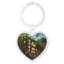 Henri Rousseau Tiger and Buffalo Heart Keychain