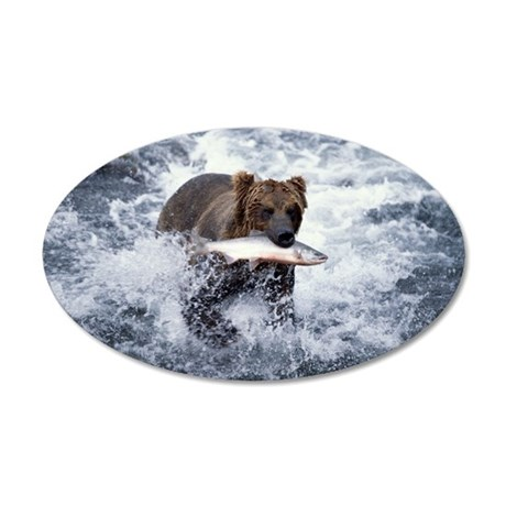 GRIZZLY BEAR WITH RED SALMON 35x21 Oval Wall Decal